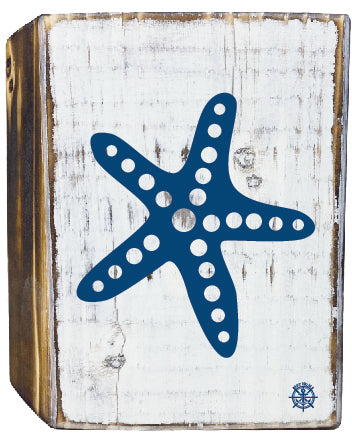 Starfish Rustic White Wood Block