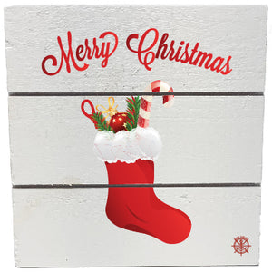 "6"" x 6"" Christmas Stocking Wood Hanging Plank"
