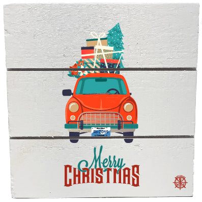 Christmas RI Car Wood Hanging Plank