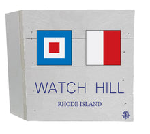 "Load image into Gallery viewer, 6"" x 6"" Watch Hill Nautical Flag Wood Box"