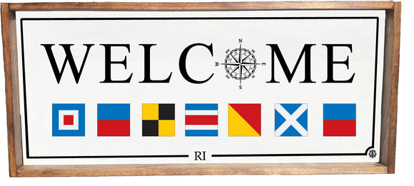 Nautical Flags Welcome Framed Sign