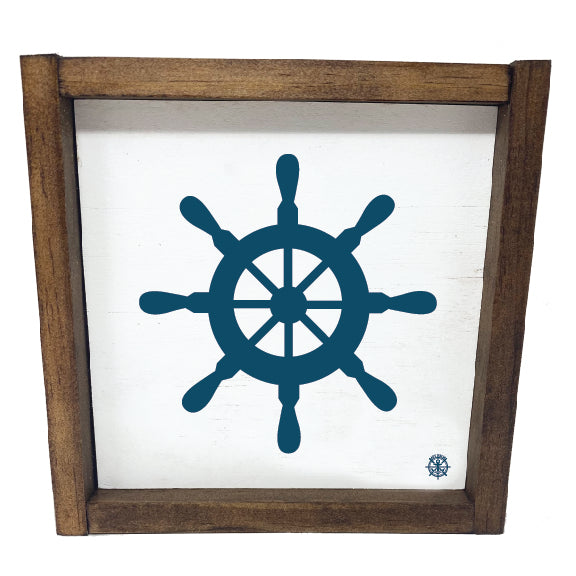 Framed Nautical Wheel Sign
