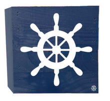 "Load image into Gallery viewer, 6"" x 6"" Boat Wheel Wood Box"