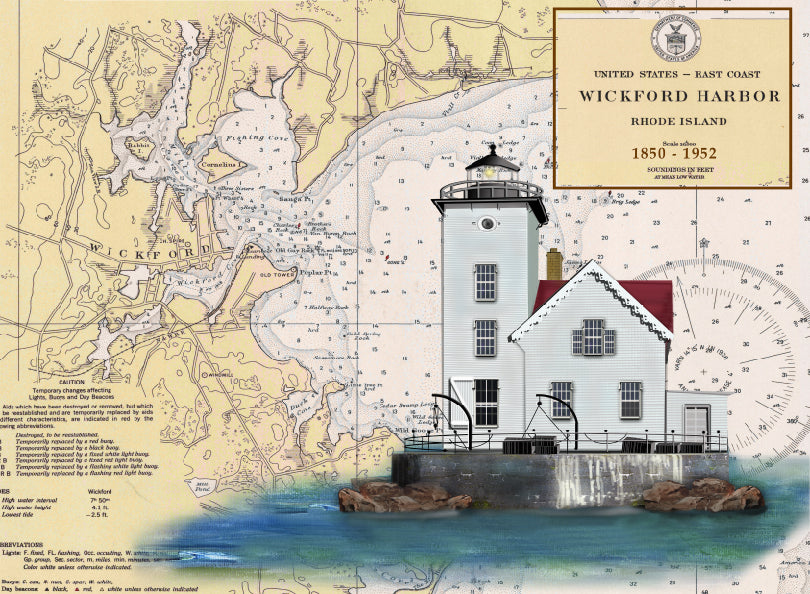 Wickford Harbor Lighthouse on Canvas