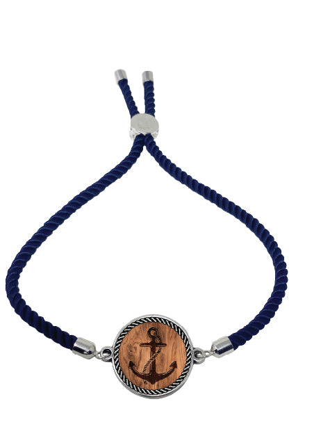 Rustic Wood Anchor Rope Bracelet