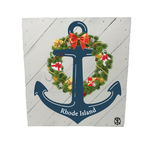 Anchor Wreath Custom State Hanging Wood Sign