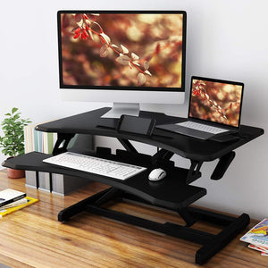 Ergonomic PC Workstation Converter Stand Up Desk Riser with Detachable Keyboard Tray 76.9 * 49.8 cm