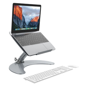 "Laptop Stand, SLYPNOS Adjustable Aluminum Notebook Stand Cooling Ventilated Laptop Desk Reading Holder with Anti-Slip Pads and Front Lip, Fits for MacBook, Apple Notebooks, 13""-17"" Tablet, Silver"
