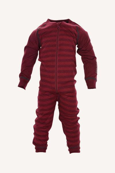 STRIPE MERINO OVERALL - BEET RED