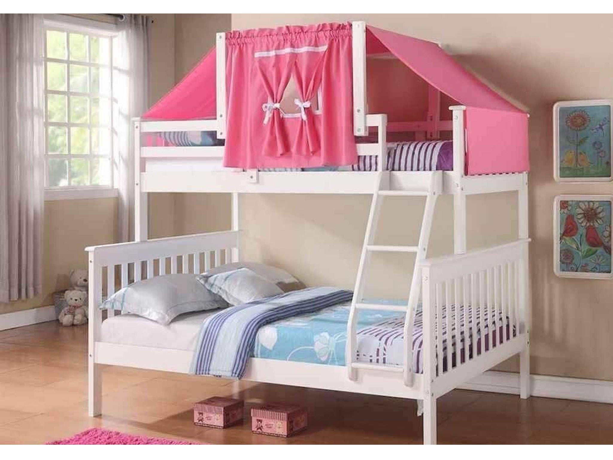 Indiana Twin Full Mission Bunk Bed W Pink Bunk Bed Tent Kit In A White