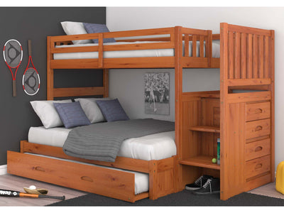 Napa Honey Stair Stepper Twin Over Full Bunk Bed Trundle