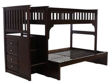 Nashville Espresso Stair Stepper Twin Over Full Bunk Bed