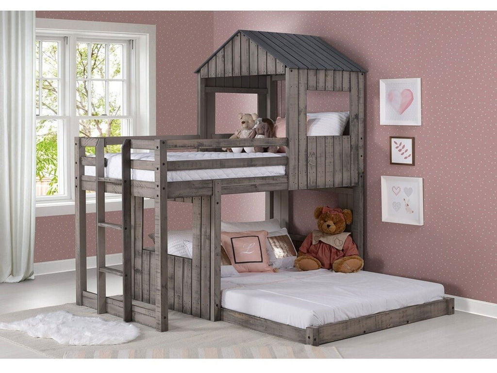 Picture of: Leeds Twin Over Full Campsite Treehouse Loft Rustic Dirty Grey Bunk Bed Buddies