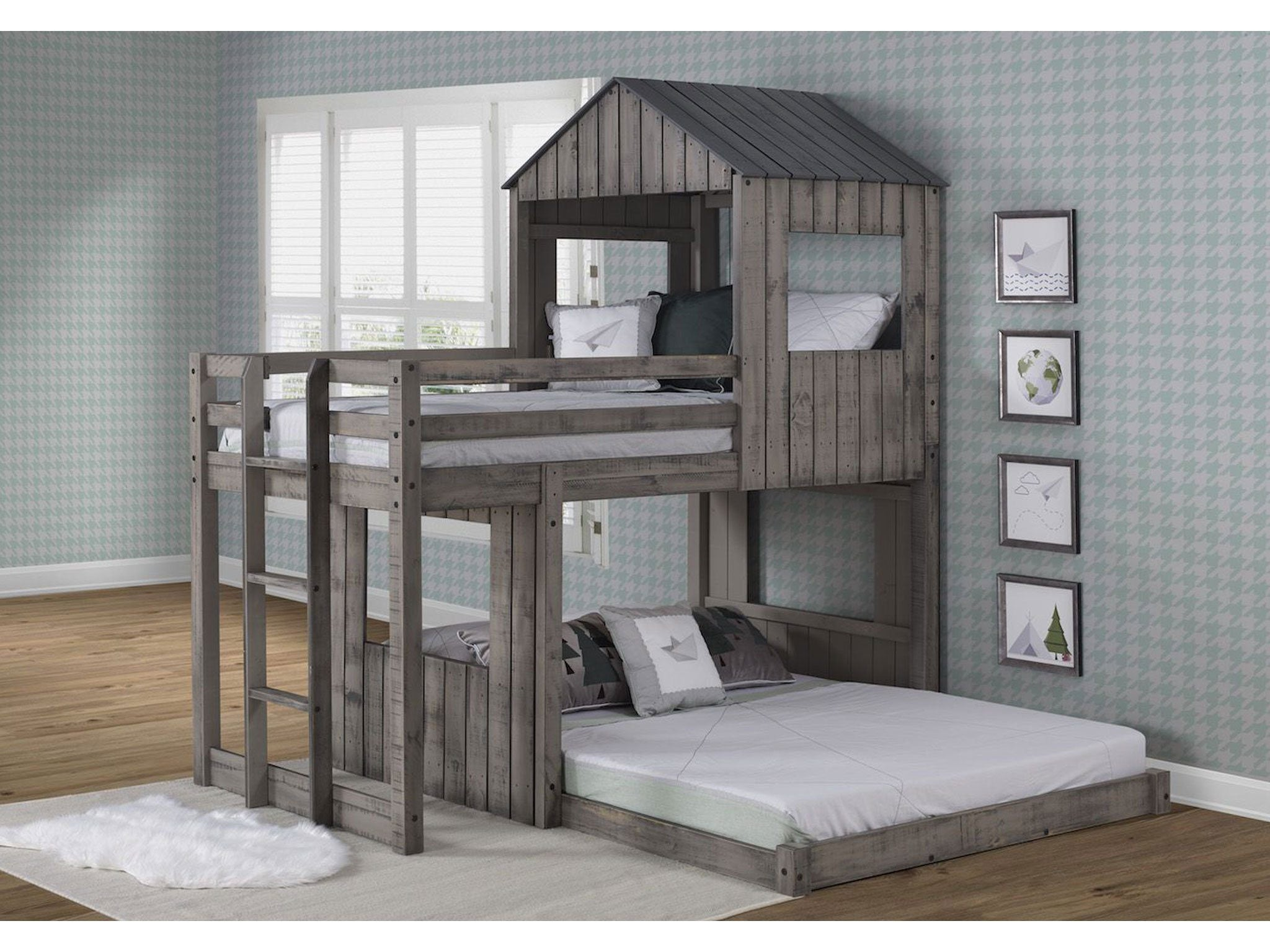 Leeds Twin Over Full Campsite Treehouse Loft Rustic Dirty Grey Bunk Bed Buddies