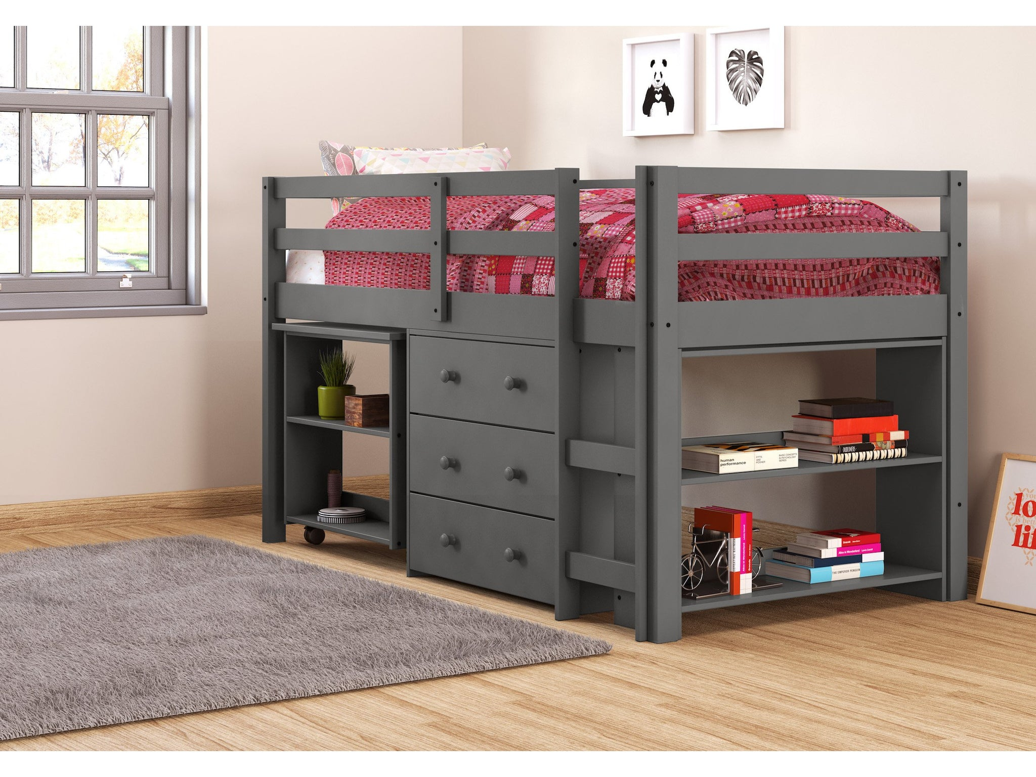 Picture of: Free Shipping 10 Off Today Twin Low Loft W Desk More Dark Grey Bunk Bed Buddies