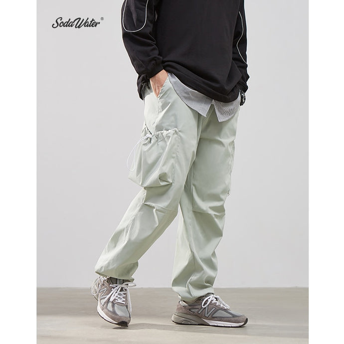 SODAWATER Men Solid Casual Pants Streetwear 2019 FW Loose Multi Pocket Cargo Pant Men Hip Hop Sweatpants Jogger Trousers 94503WS