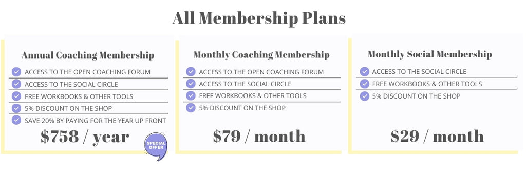 All membership options | Choose to pay annually and save 20% or pay monthly!