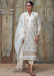 OFF-WHITE FLORAL FORMAL BLOCK PRINTED SHIRT WITH DUPATTA (2PC)