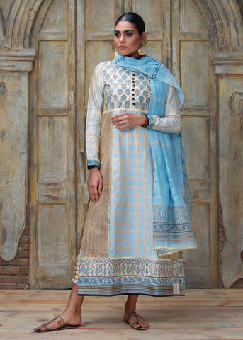 TURQUOISE FLORAL BLOCK PRINTED LONG PANEL SHIRT WITH DUPATTA (2PC)