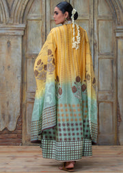 POPPY MOTIF BLOCK PRINTED FLAIRED LONG PANEL SHIRT WITH DUPATTA & PANTS (2PC)