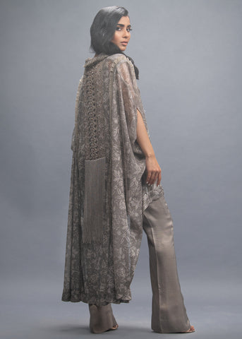 FORMAL SILVER NET DRAPE WITH INNER AND PANTS (3PC)