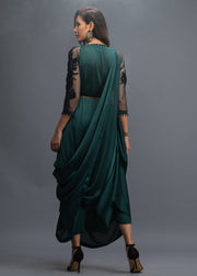 FORMAL BOTTLE GREEN DRAPE WITH INNER AND PANTS (3PC)