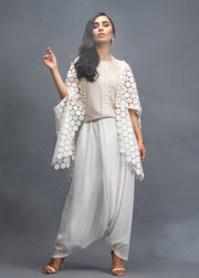 FORMAL POLKA DOTS CAPE WITH SHIRT AND DRAPE PANTS  (3PC)