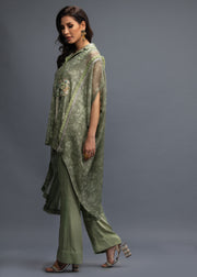 FORMAL GREEN NET DRAPE WITH INNER AND PANTS (3PC)