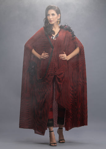 FORMAL MAROON CRINKLE DRAPE WITH INNNER AND PANTS (3PC)