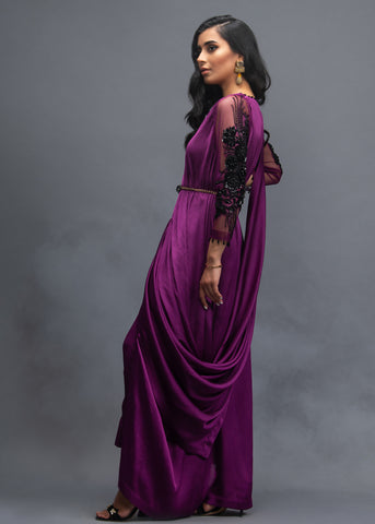 FORMAL BRINJAL DRAPE WITH INNER BELT AND PANTS (3PC)