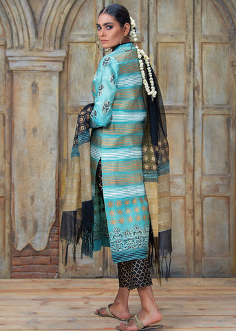 STRIPES AND DOTS FORMAL BLOCK PRINTED SHIRT WITH DUPATTA (2PC)