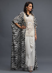 FORMAL ZEBRA PRINT LONG CAPE WITH SHIRT AND DRAPE SHALWAR (3PC)
