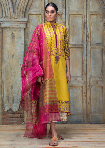 FORMAL CORNER DROPPED BLOCK PRINTED SHIRT WITH DUPATTA (2PC)