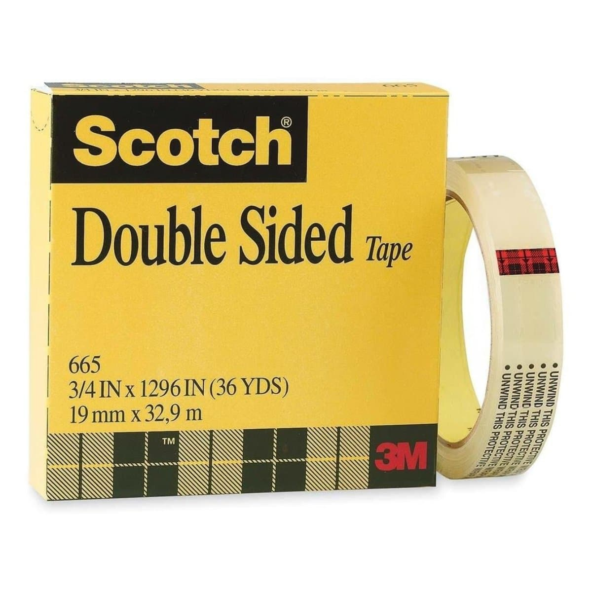 3M Scotch Permanent Double Sided Tape 665, 19mm x 33m, 3/4inch x 36yards