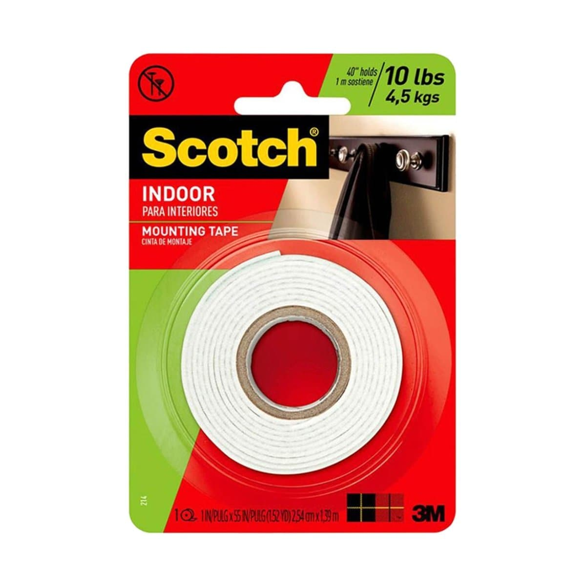 3M Scotch Mounting Tape 114, Indoor, 1 x 50 inches