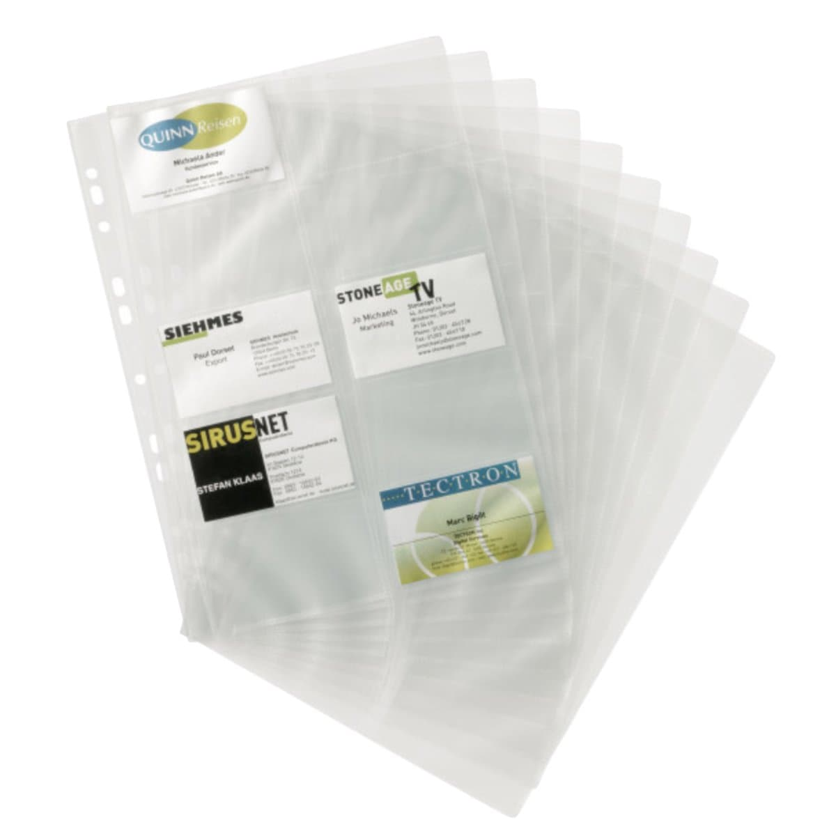 Durable Business Card Pockets A4, 10/pack