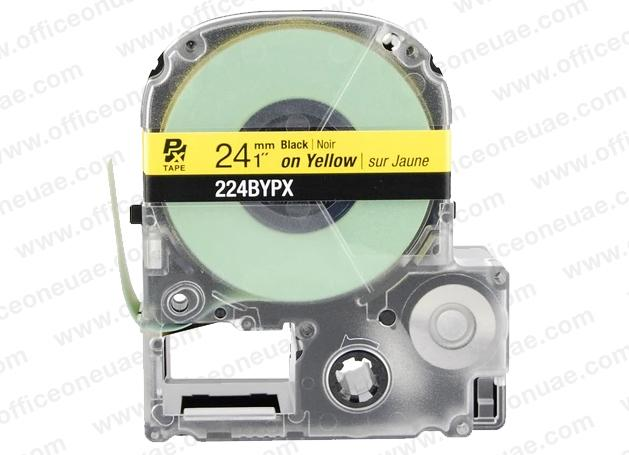 Epson LABELWORKS PX 24mm 224BYPX Tape, Black on Yellow