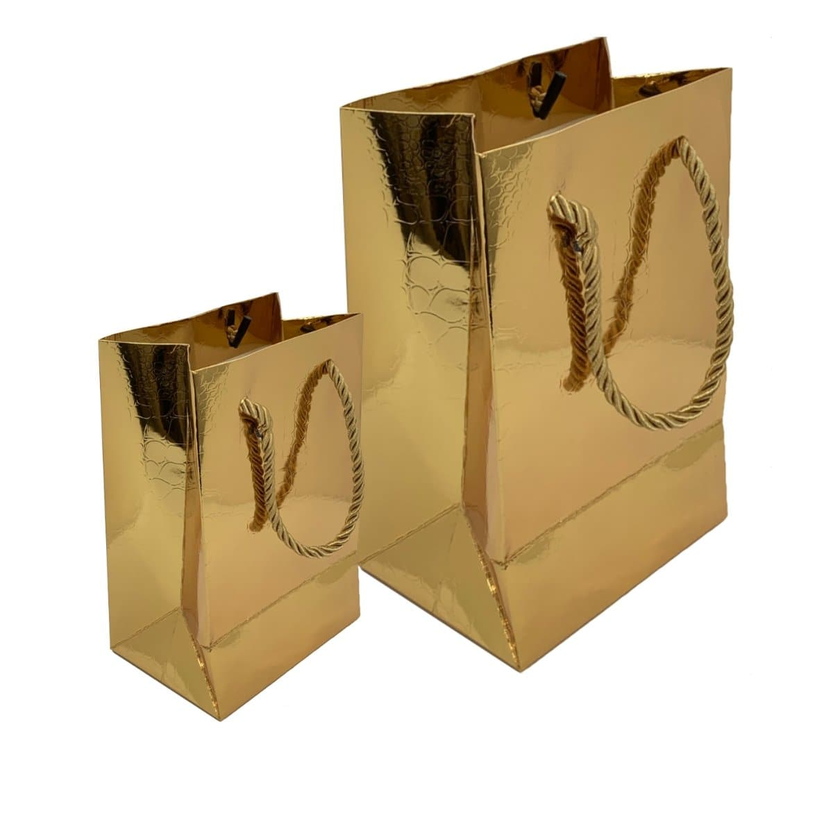Paper Gift Bag, Croco Glossy, Gold