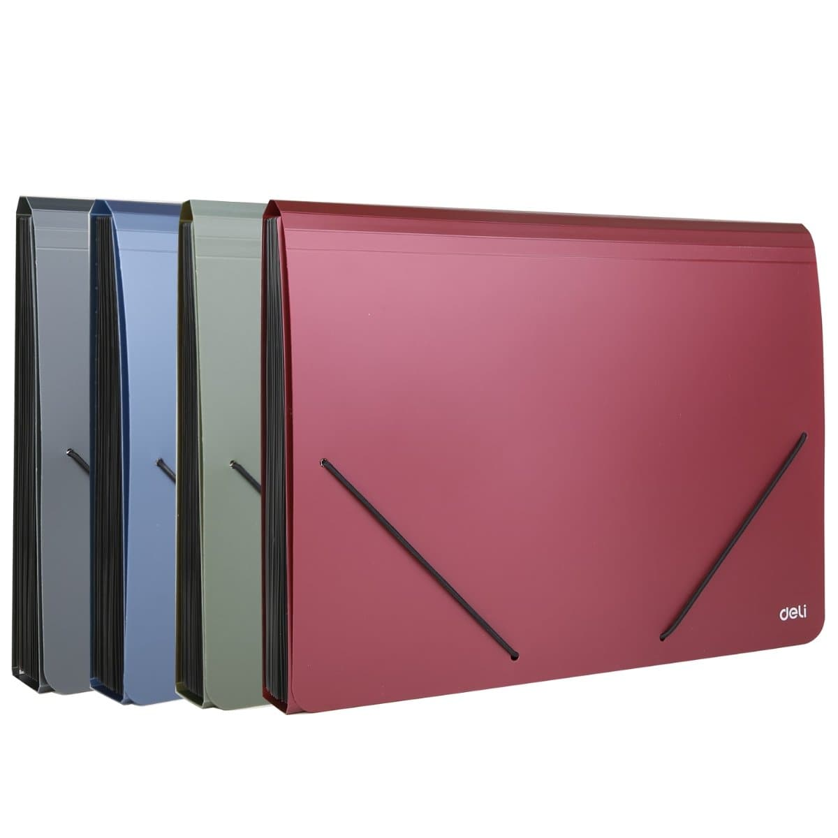 deli Expanding File A4 with elastic fastener, 12 pockets, Assorted Colors
