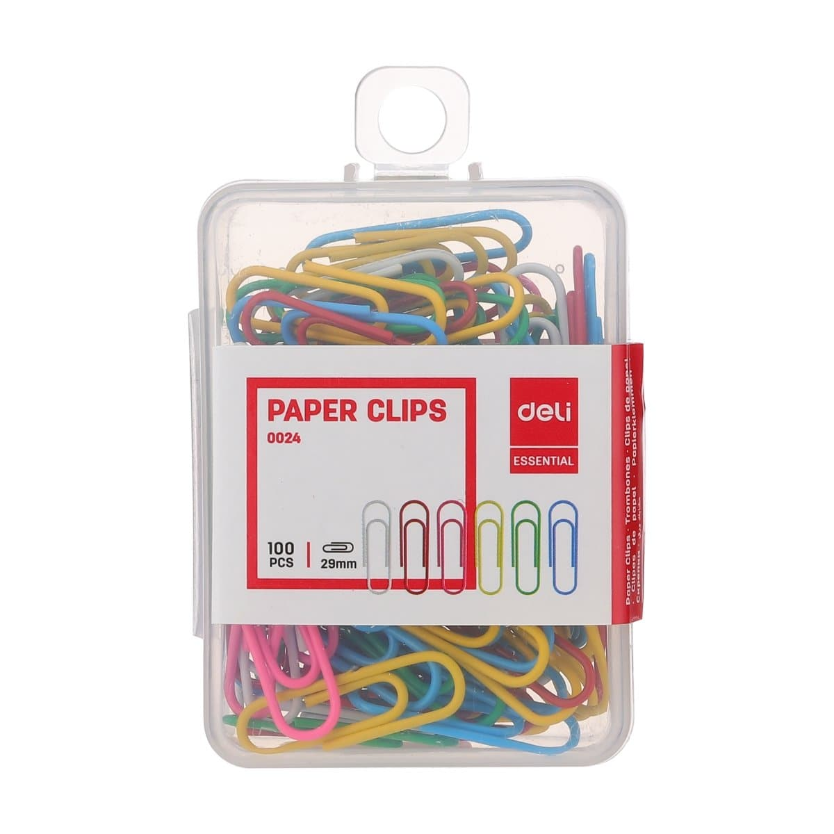 deli Colored Paper Clips, 29mm, 100/pack, Assorted Colors