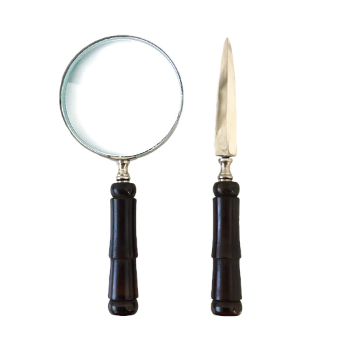Letter Opener & Magnifier Set with Resin Handle, Dark Brown