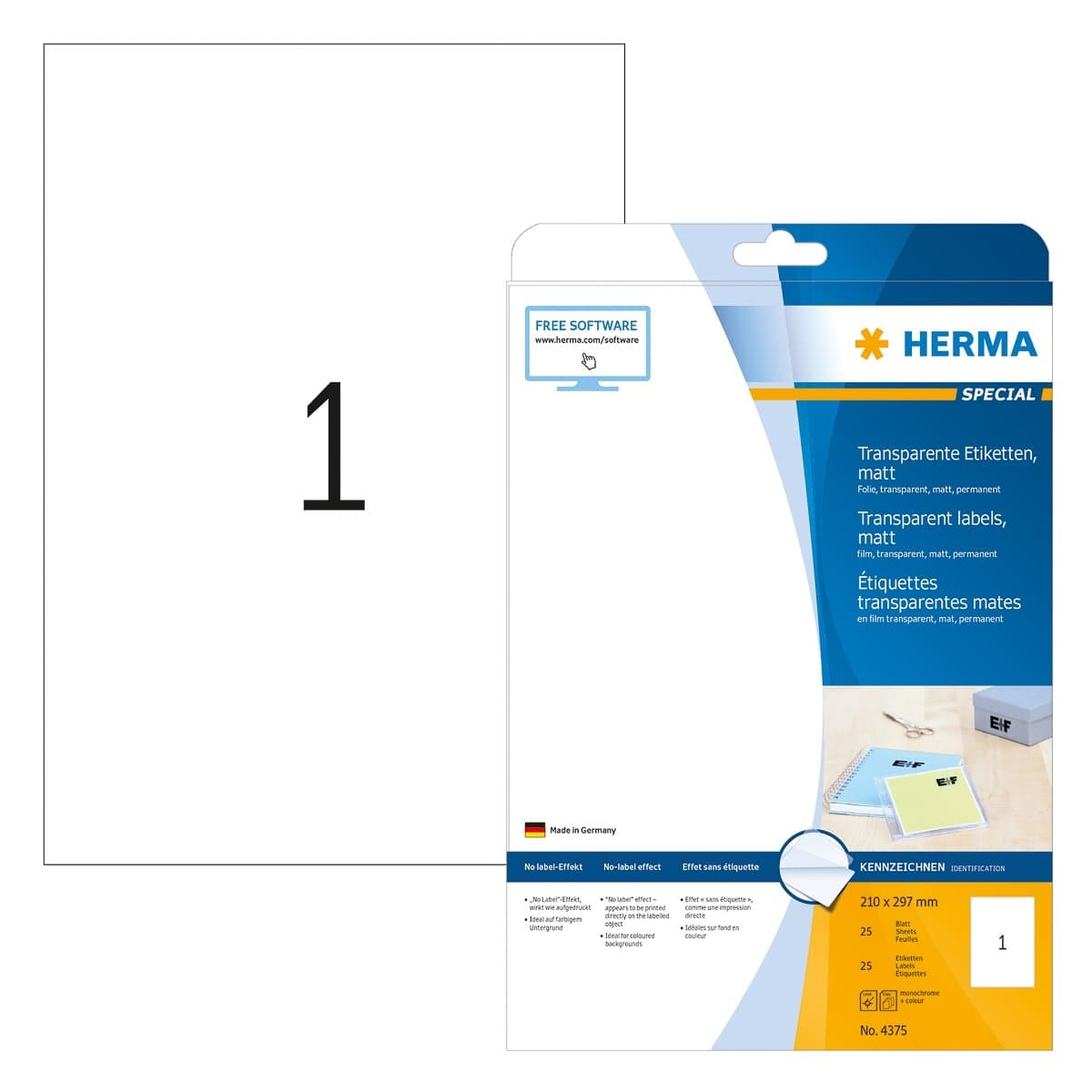 Herma Transparent Label, no-label-effect, A4 210 x 297 mm, 25/pack, Transparent matt