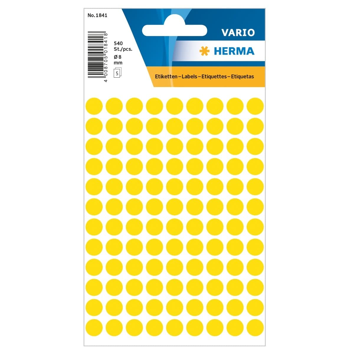 Herma Vario Sticker Color Dots, 8 mm, 540/pack, Yellow