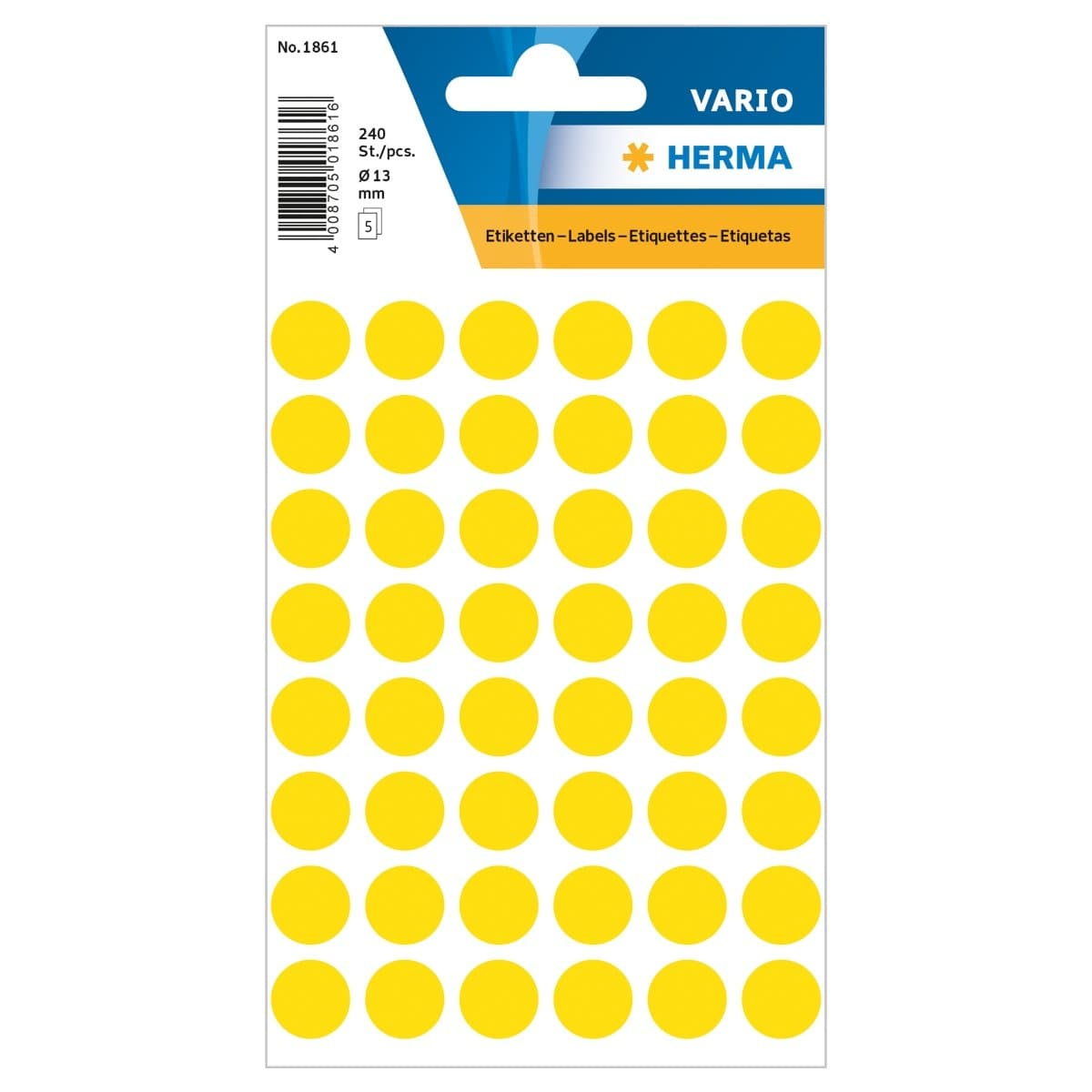 Herma Vario Sticker Color Dots, 13 mm, 240/pack, Yellow