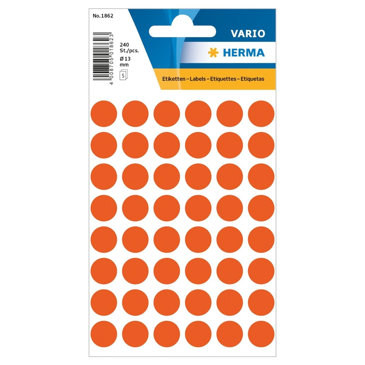 Herma Vario Sticker Color Dots, 13 mm, 240/pack, Red