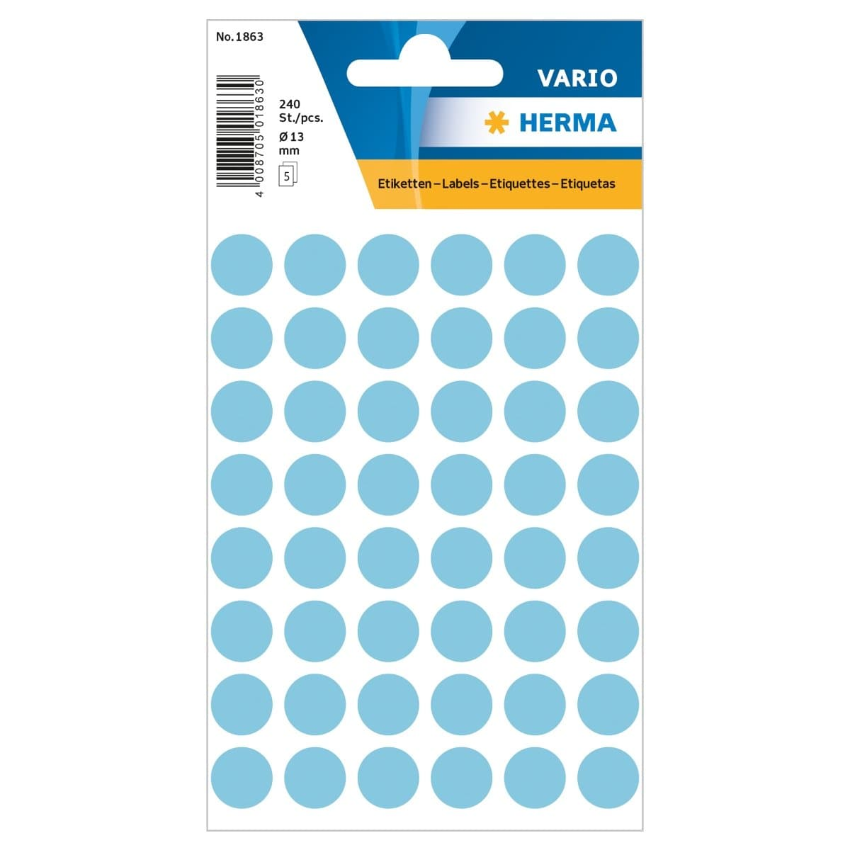 Herma Vario Sticker Color Dots, 13 mm, 240/pack, Blue