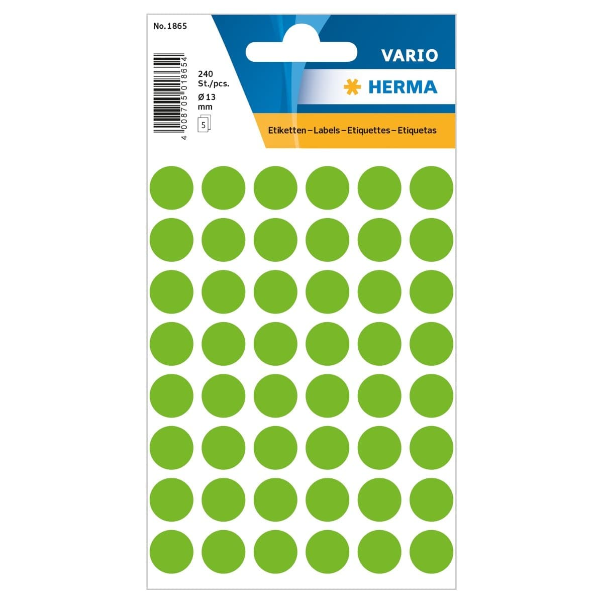 Herma Vario Sticker Color Dots, 13 mm, 240/pack, Green