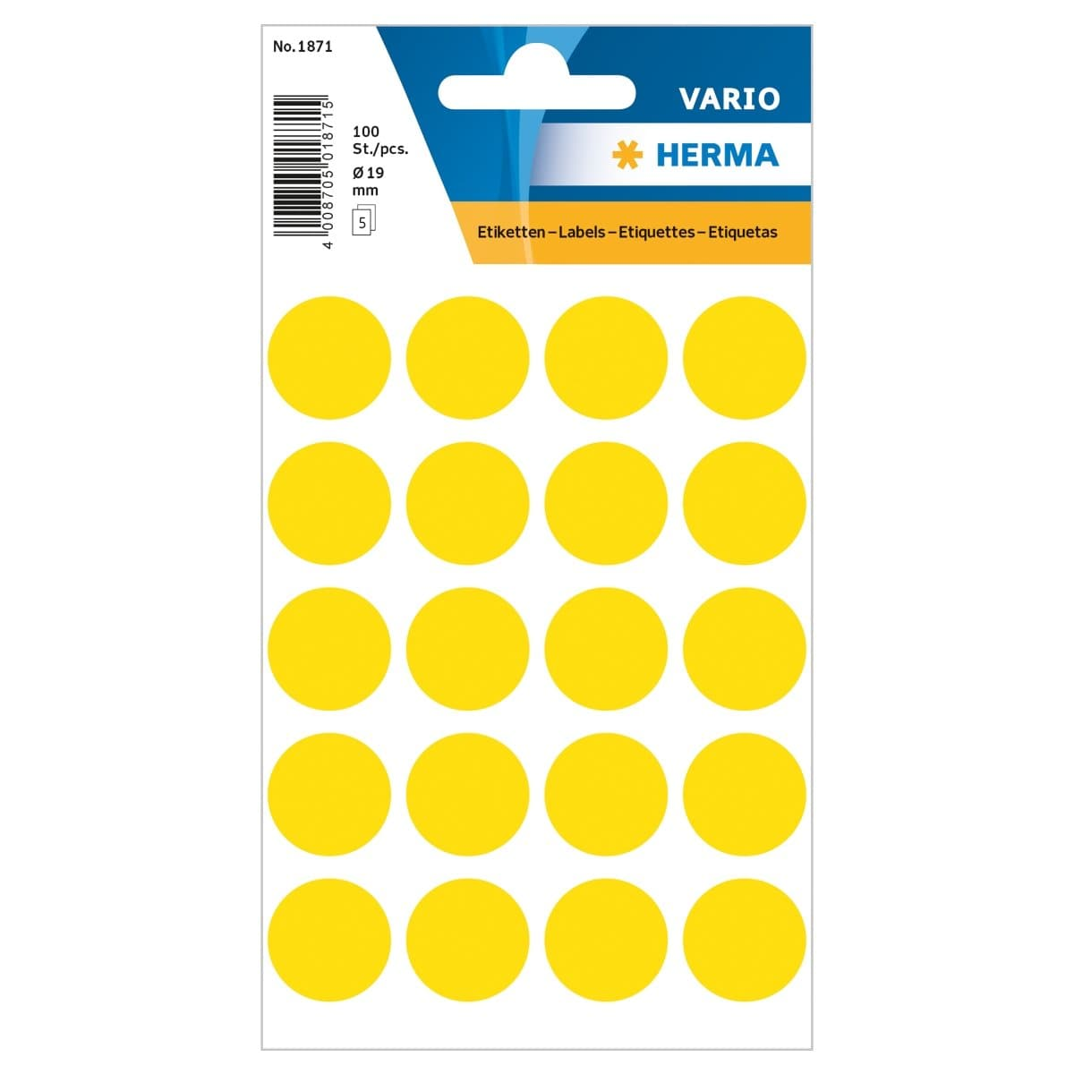 Herma Vario Sticker Color Dots, 19 mm, 100/pack, Yellow