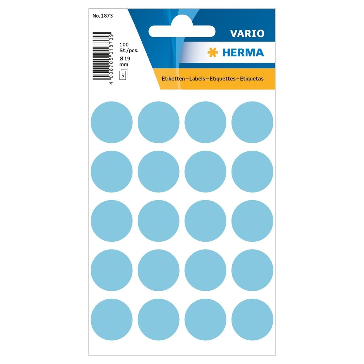 Herma Vario Sticker Color Dots, 19 mm, 100/pack, Blue