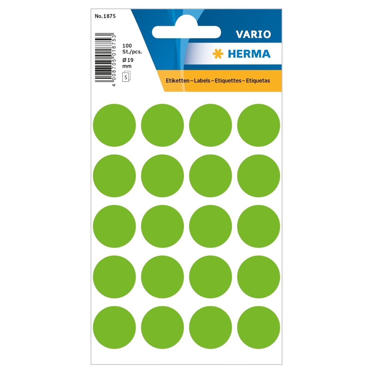 Herma Vario Sticker Color Dots, 19 mm, 100/pack, Green